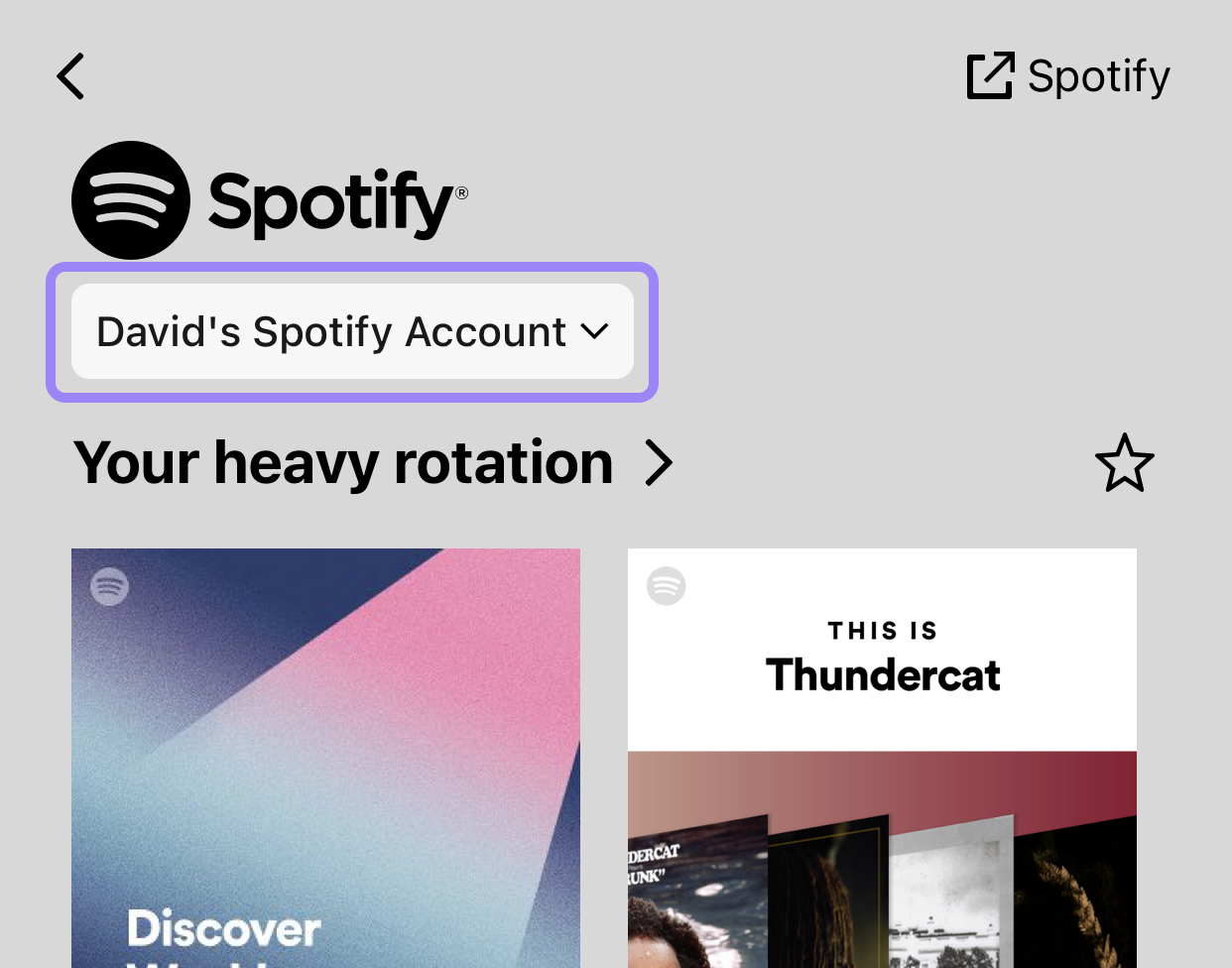 A screenshot illustrating the location of the account switch on Spotify