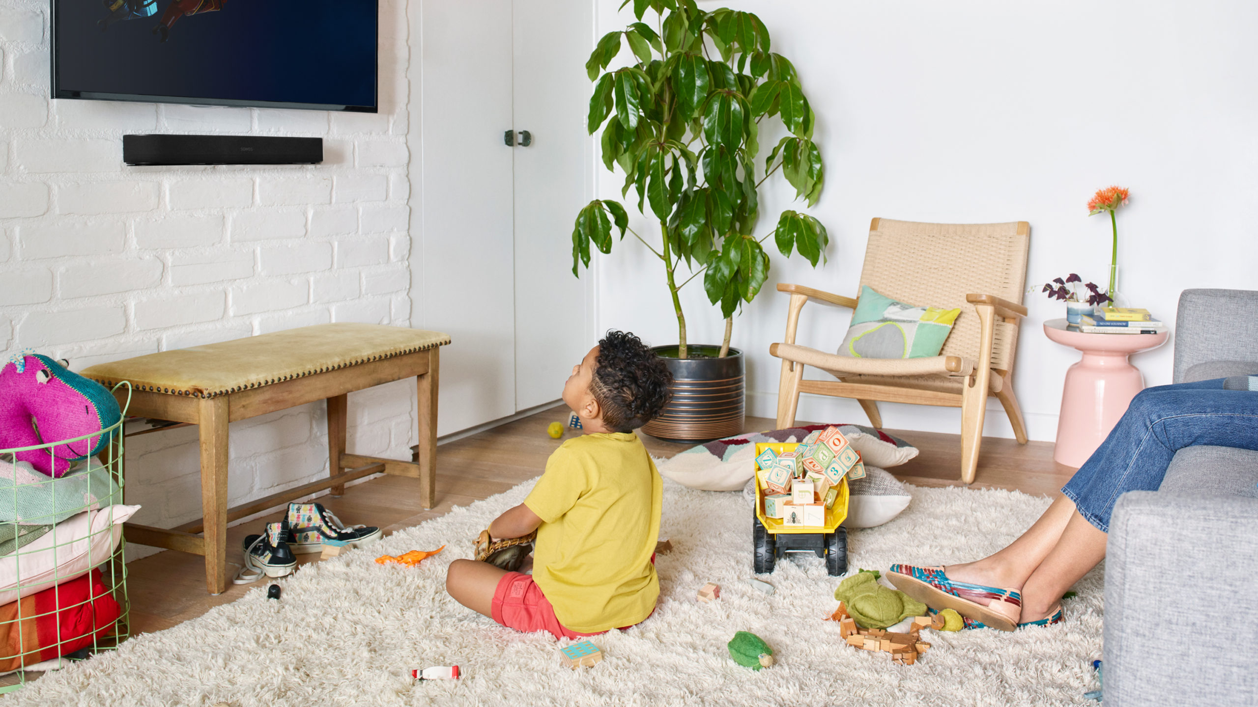 Sonos Home theatre watching a movie as a family